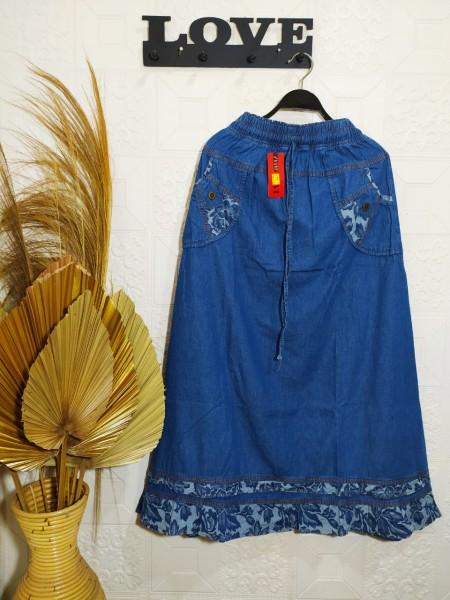 RM1501 Rok Jeans Remaja List motif Cantik