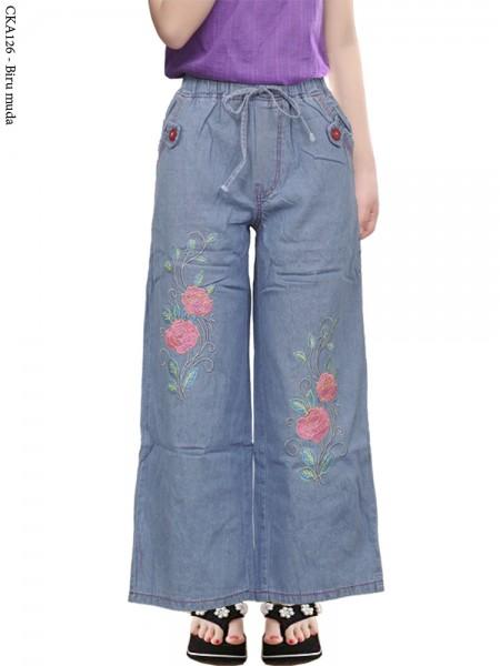CKA126 Celana Kulot Jeans Anak Bordir Bunga