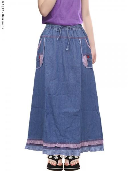 RA412 Rok Jeans Anak Tanggung Motif 9-13th